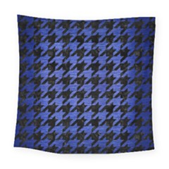 Houndstooth1 Black Marble & Blue Brushed Metal Square Tapestry (large) by trendistuff