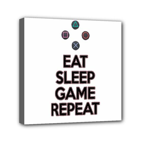 Eat Sleep Game Repeat Mini Canvas 6  X 6  by Valentinaart