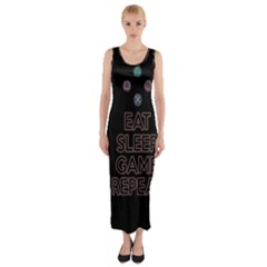 Eat Sleep Game Repeat Fitted Maxi Dress by Valentinaart
