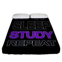 Eat Sleep Study Repeat Fitted Sheet (queen Size) by Valentinaart