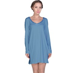 Trendy Basics   Trend Color Niagara Long Sleeve Nightdress by tarastyle
