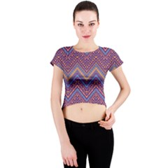 Colorful Ethnic Background With Zig Zag Pattern Design Crew Neck Crop Top by TastefulDesigns