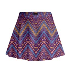 Colorful Ethnic Background With Zig Zag Pattern Design Mini Flare Skirt by TastefulDesigns