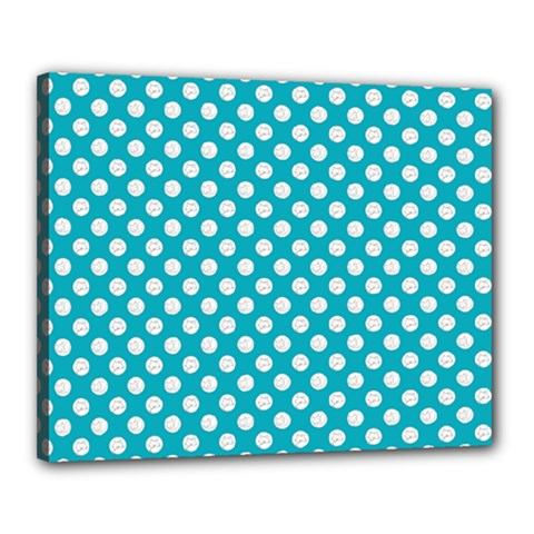 Sleeping Kitties Polka Dots Teal Canvas 20  X 16  by emilyzragz