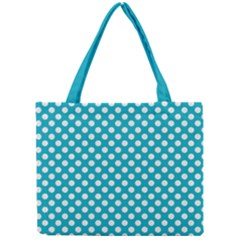 Sleeping Kitties Polka Dots Teal Mini Tote Bag by emilyzragz