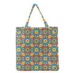 Geometric Multicolored Print Grocery Tote Bag by dflcprints