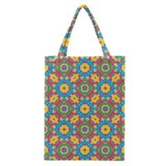 Geometric Multicolored Print Classic Tote Bag by dflcprints