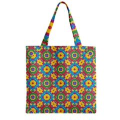 Geometric Multicolored Print Zipper Grocery Tote Bag by dflcprints