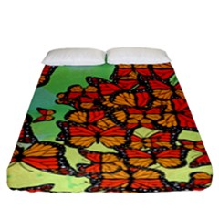 Monarch Butterflies Fitted Sheet (king Size) by linceazul