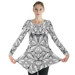 Modern Oriental Ornate Long Sleeve Tunic  by dflcprintsclothing