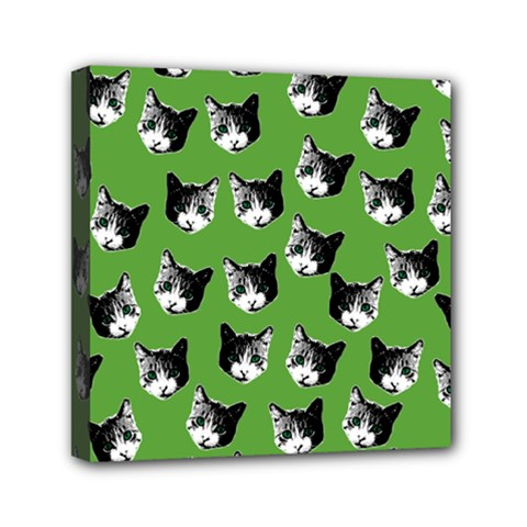 Cat Pattern Mini Canvas 6  X 6  by Valentinaart