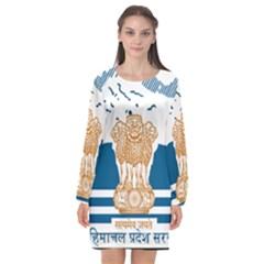 Seal of Indian Sate of Himachal Pradesh Long Sleeve Chiffon Shift Dress