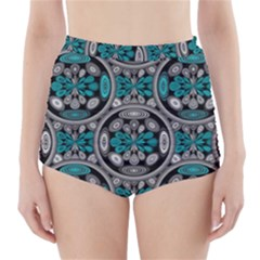 Geometric Arabesque High Waisted Bikini Bottoms by linceazul