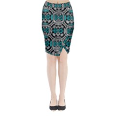 Geometric Arabesque Midi Wrap Pencil Skirt by linceazul