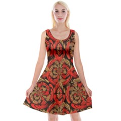 Red And Brown Pattern Reversible Velvet Sleeveless Dress by linceazul