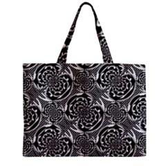 Metallic Mesh Pattern Medium Zipper Tote Bag by linceazul