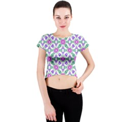 Multicolor Ornate Check Crew Neck Crop Top by dflcprints