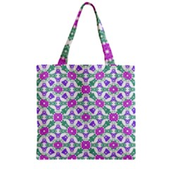 Multicolor Ornate Check Zipper Grocery Tote Bag by dflcprints