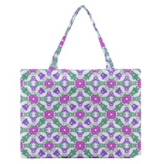 Multicolor Ornate Check Medium Zipper Tote Bag by dflcprints