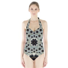 Wood In The Soft Fire Galaxy Pop Art Halter Swimsuit