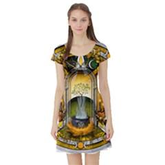 Samhain Sabbat Pentacle Short Sleeve Skater Dress by NaumaddicArts