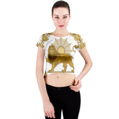 Lion & Sun Emblem Of Persia (iran) Crew Neck Crop Top by abbeyz71