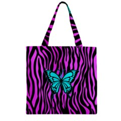 Zebra Stripes Black Pink   Butterfly Turquoise Zipper Grocery Tote Bag by EDDArt