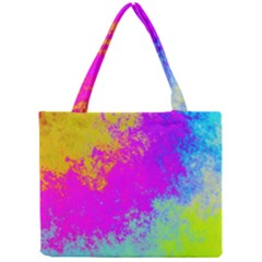 Grunge Radial Gradients Red Yellow Pink Cyan Green Mini Tote Bag by EDDArt
