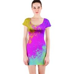 Grunge Radial Gradients Red Yellow Pink Cyan Green Short Sleeve Bodycon Dress by EDDArt