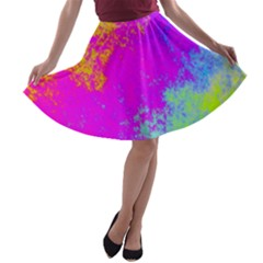 Grunge Radial Gradients Red Yellow Pink Cyan Green A Line Skater Skirt by EDDArt