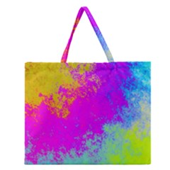 Grunge Radial Gradients Red Yellow Pink Cyan Green Zipper Large Tote Bag by EDDArt