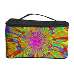 Magic Ripples Flower Power Mandala Neon Colored Cosmetic Storage Case by EDDArt