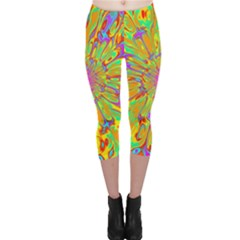 Magic Ripples Flower Power Mandala Neon Colored Capri Leggings  by EDDArt