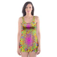 Magic Ripples Flower Power Mandala Neon Colored Skater Dress Swimsuit by EDDArt