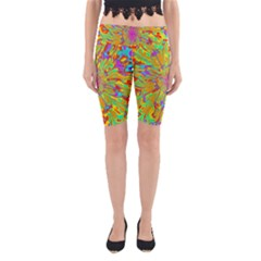 Magic Ripples Flower Power Mandala Neon Colored Yoga Cropped Leggings by EDDArt