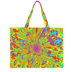 Magic Ripples Flower Power Mandala Neon Colored Zipper Large Tote Bag by EDDArt