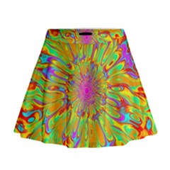 Magic Ripples Flower Power Mandala Neon Colored Mini Flare Skirt by EDDArt
