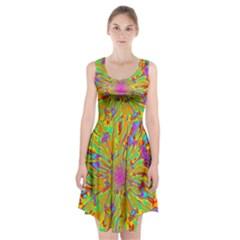 Magic Ripples Flower Power Mandala Neon Colored Racerback Midi Dress by EDDArt
