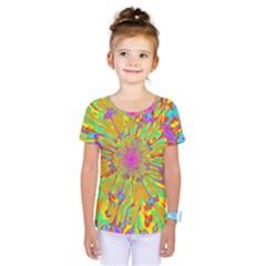 Magic Ripples Flower Power Mandala Neon Colored Kids  One Piece Tee by EDDArt