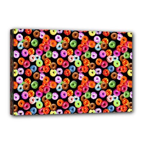 Colorful Yummy Donuts Pattern Canvas 18  X 12  by EDDArt