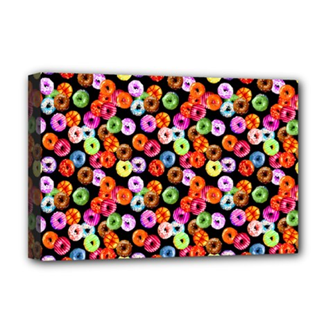 Colorful Yummy Donuts Pattern Deluxe Canvas 18  X 12   by EDDArt