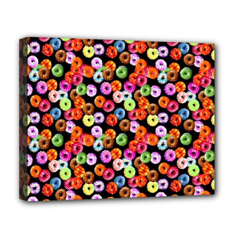 Colorful Yummy Donuts Pattern Deluxe Canvas 20  X 16   by EDDArt
