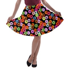 Colorful Yummy Donuts Pattern A Line Skater Skirt by EDDArt