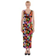 Colorful Yummy Donuts Pattern Fitted Maxi Dress by EDDArt