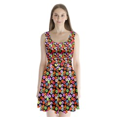 Colorful Yummy Donuts Pattern Split Back Mini Dress  by EDDArt