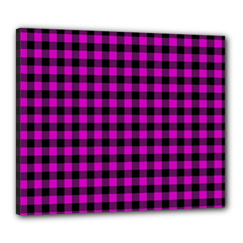 Lumberjack Fabric Pattern Pink Black Canvas 24  X 20  by EDDArt