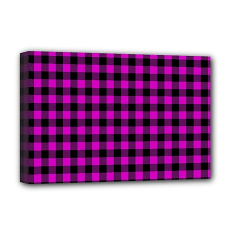 Lumberjack Fabric Pattern Pink Black Deluxe Canvas 18  X 12   by EDDArt
