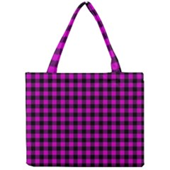 Lumberjack Fabric Pattern Pink Black Mini Tote Bag by EDDArt