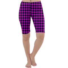 Lumberjack Fabric Pattern Pink Black Cropped Leggings  by EDDArt