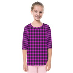 Lumberjack Fabric Pattern Pink Black Kids  Quarter Sleeve Raglan Tee by EDDArt